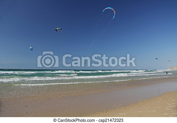 Kite Surfing On The Mediterranean Sea In Israel Stock