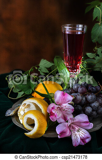 anticaglia, vita, stile, due, vetro, uva, vino, ancora - csp21473178