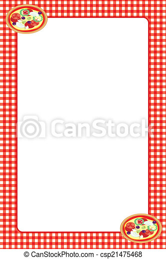 Stock Illustration Of Food Themed Frame Pizza Illustrated Border Csp21475468