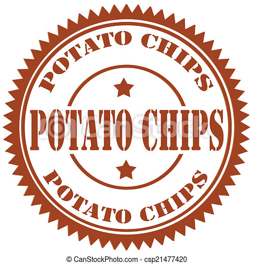 Vector Illustration of Potato Chips-stamp - Rubber stamp with text ...