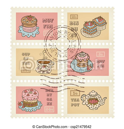 Vector postage stamps retro pastry theme, canceled, decorative 6 stamps set for scrapbooking - csp21479542