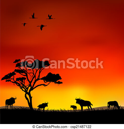 Illustration vecteur de coucher soleil africaine savane - Coucher de soleil dessin ...