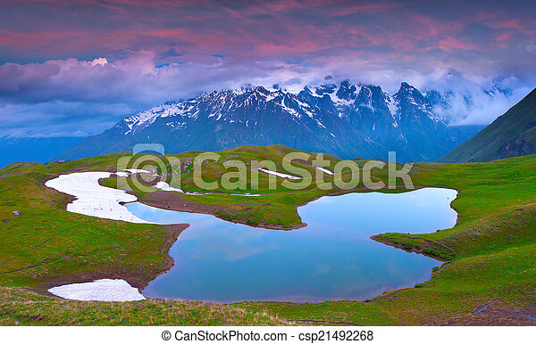 caucasus, montagne., lago, alpino - csp21492268