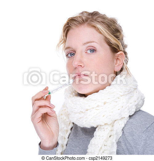 Woman with clinical thermometer - csp2149273