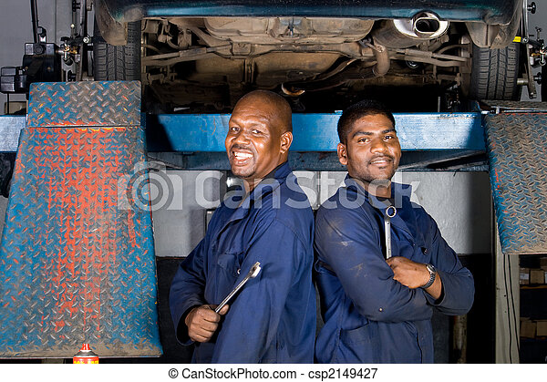 smiling african mechanics - csp2149427
