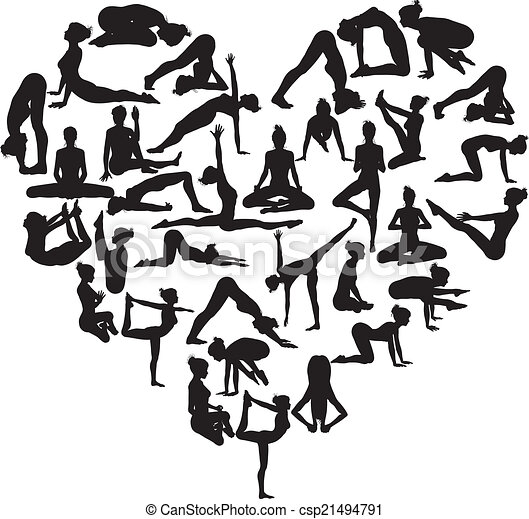 EPS Vectors of Yoga heart - A heart shape made from silhouettes in ...