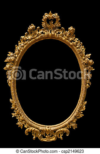 Golden classic oval picture frame