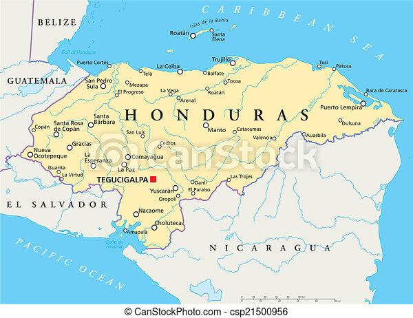 honduras, político, mapa - csp21500956
