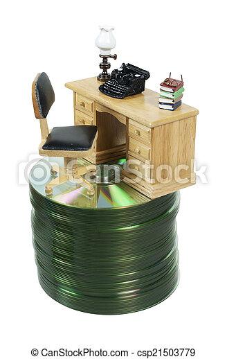 Stock de fotos escritorio m quina de escribir pila - Escritorio para escribir ...
