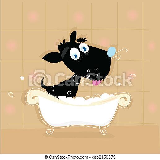 Black dog bath - csp2150573