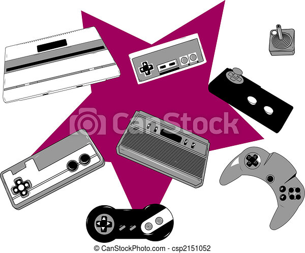 Retro game console and joysticks - csp2151052