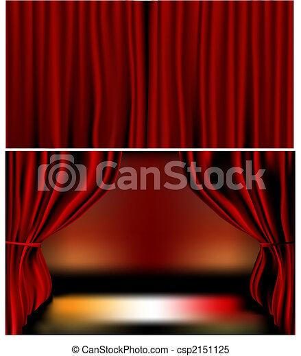 Red Velvet Curtains - csp2151125