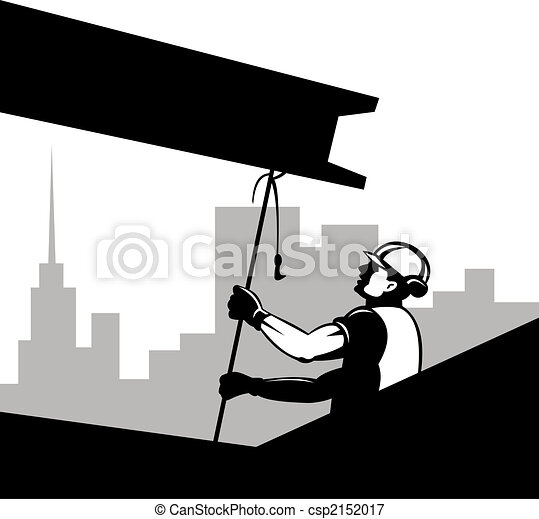 Construction worker pulling on beam - csp2152017