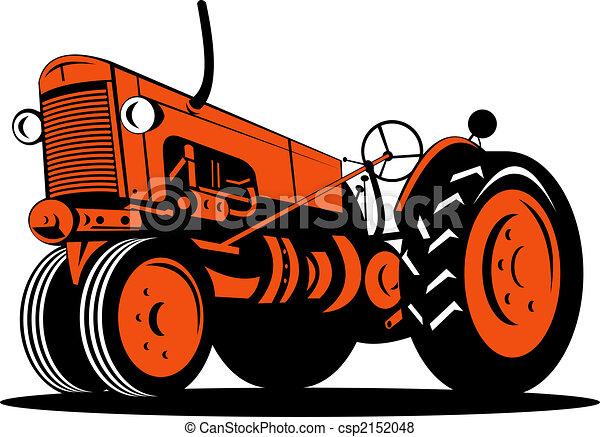 Stock Illustration of Orange vintage tractor low angle ...