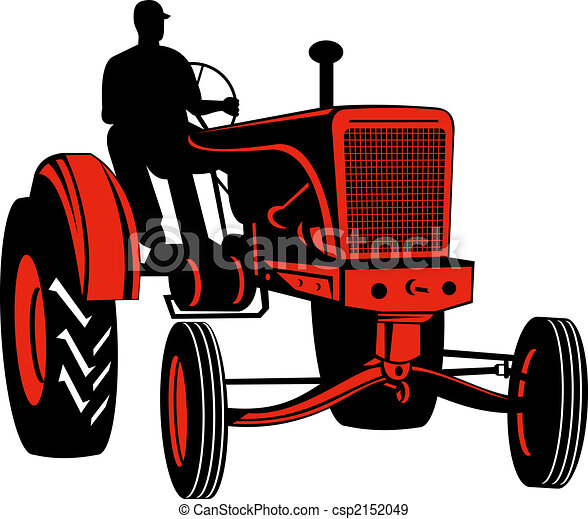 Red vintage tractor with driver front view - csp2152049