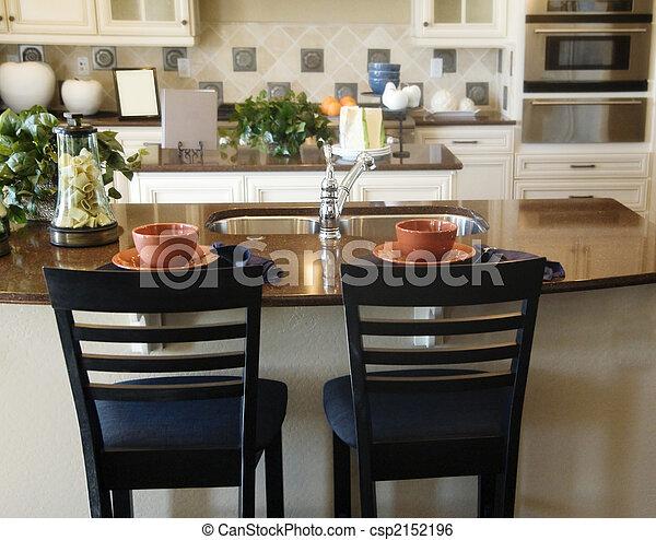 Picture of eiland, hout, marmer, keuken   keuken, in, luxe, thuis ...