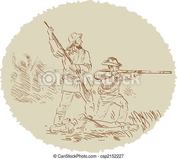 Civil War shooting side sketch - csp2152227