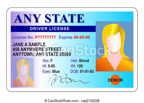 女性, 運転手, 免許証 - csp2152228
