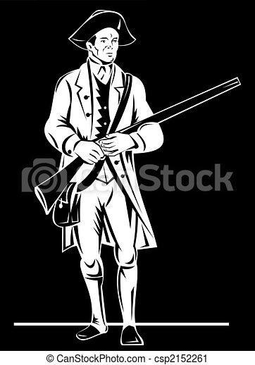 Revolutonary soldier standing - csp2152261