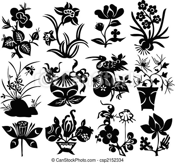 chinese traditional papercut - vector design - csp2152334