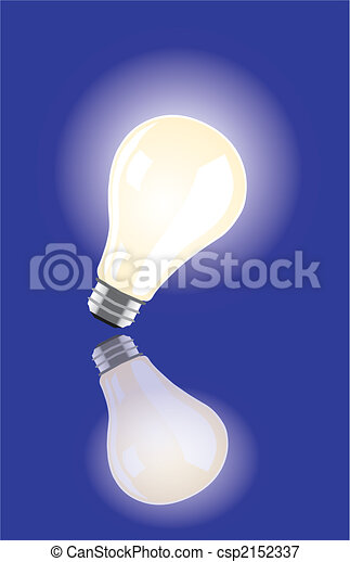 vector bulb lighting on blue background and reflections - csp2152337