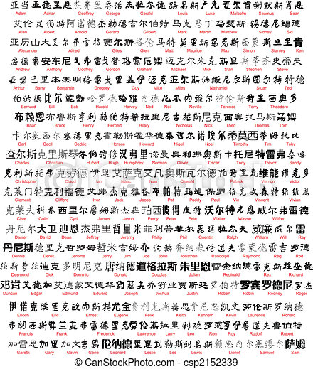 vector chinese writing with english translation - csp2152339