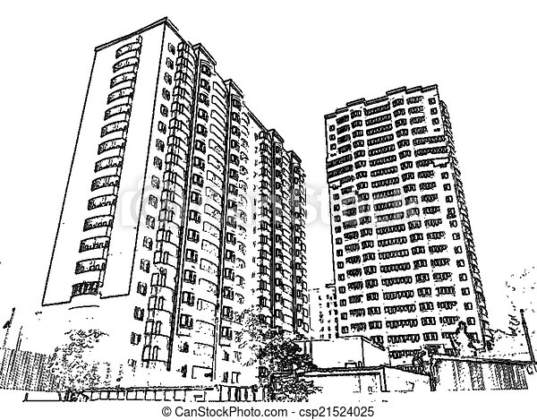 Clip Art Of Multi Storey Buildings Illustration With The Image