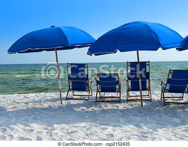 Blue beach umbrellas - csp2152435
