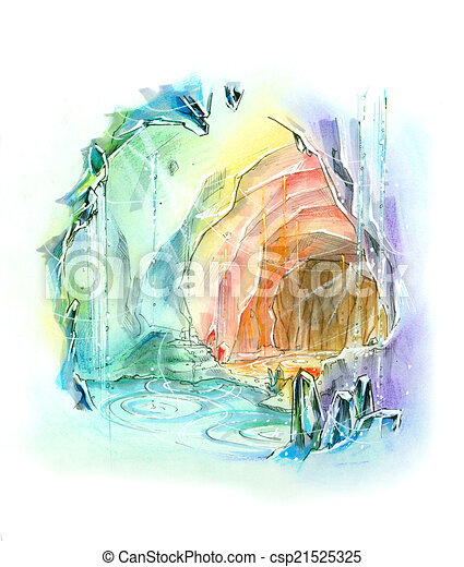 Crystal cave Clipart and Stock Illustrations. 104 Crystal cave ...