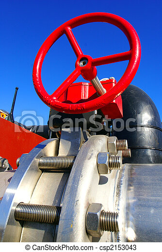 industrial valve against blue sky - csp2153043