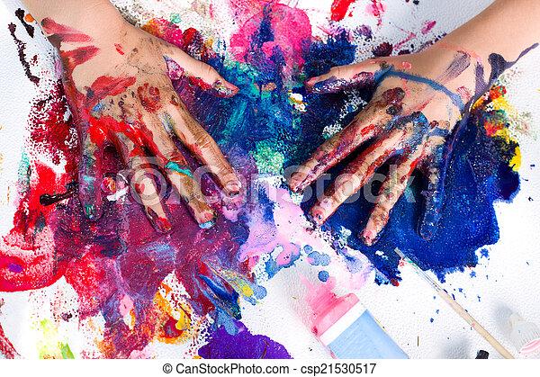 festmény, művészet, kéz - csp21530517