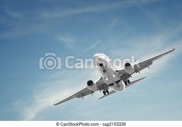 passenger airplane landing - csp2153339