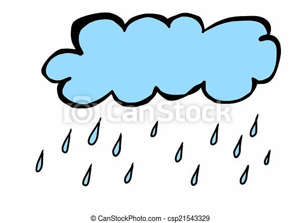 いたずら書き, 雲, 雨 - csp21543329