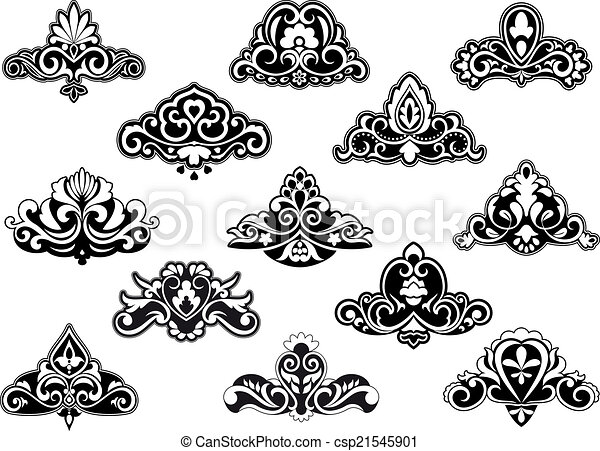 Vector Clipart of Decorative floral design elements and motifs ...