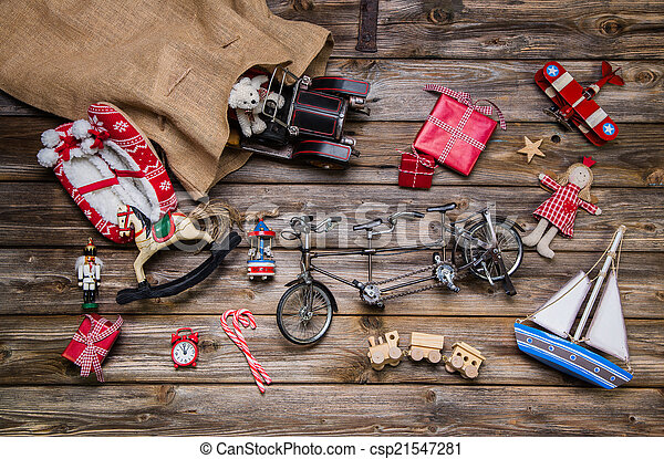 antigas, madeira,  -, Natal, decoração, crianças, LATA, brinquedos,  vint - csp21547281