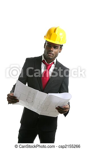 African american architect engineer yellow hardhat - csp2155266