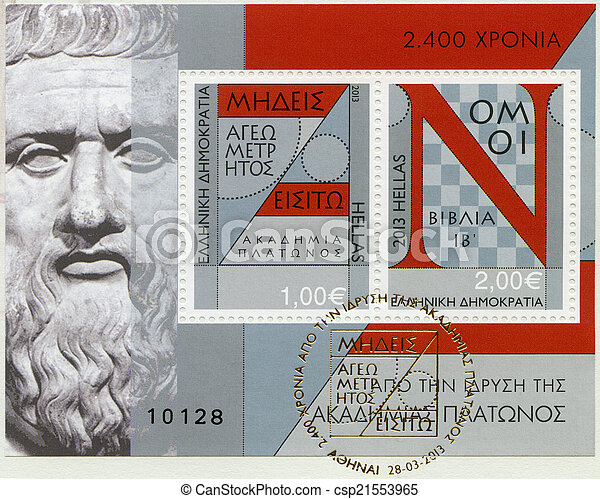 GREECE - 2013: shows Plato mathematics maths geometry law book,  - csp21553965