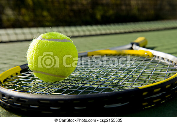 Tennis Racket and Ball on Court - csp2155585