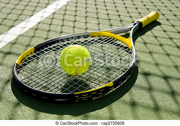 Tennis Racket and Ball on Court - csp2155609