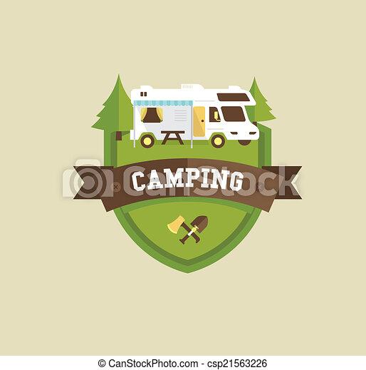 Vector Illustration of RV camping resort partk flat style ...
