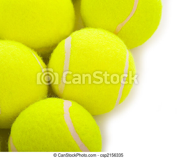 Several tennis balls on a white background with copy space