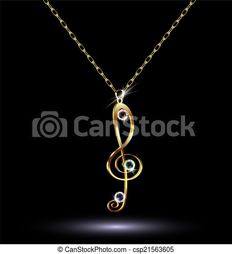 pendant with a treble clef - csp21563605