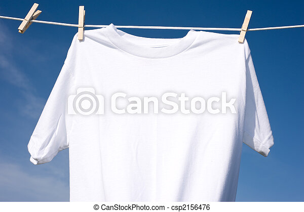 Plain White T-Shirt on a Clothesline - csp2156476