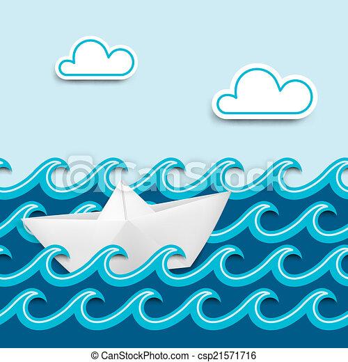 Boat Scenery Drawing Nautical Cartoon Scenery