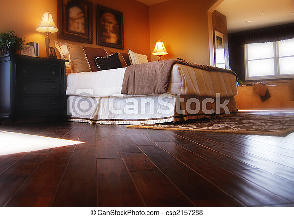 Hardwood flooring in bedroom - csp2157288