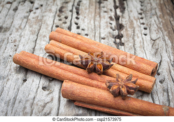 Star anise and cinnamon on wood background