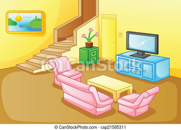 Vektor Clipart Von Inneneinrichtung Wohnzimmer Haus