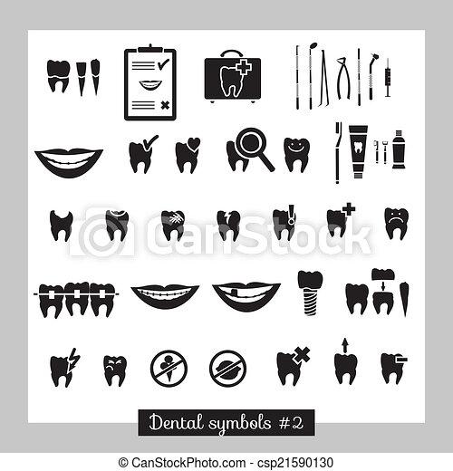 2, símbolos, parte, jogo, odontologia - csp21590130