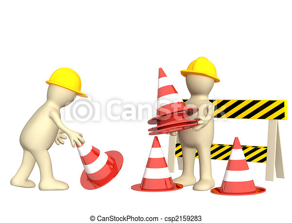3d puppets with emergency cones - csp2159283