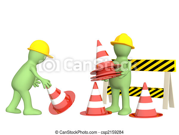 3d puppets with emergency cones - csp2159284